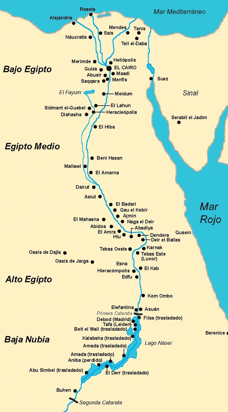 Mapa De Egipto Antiguo.Mapa Geografico De Egipto Principales Ciudades