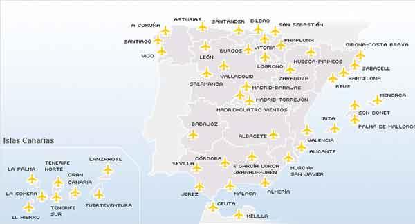 mapa de aeropuertos de España