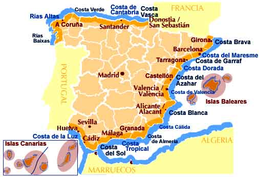 mapa de costas y playas de España