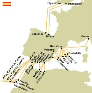 mapa de ruta de ferry
