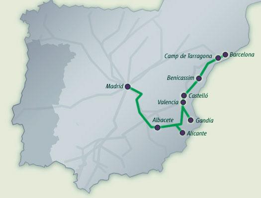 Mapa Recorrido Ave Barcelona Sevilla.Viajar En Tren Por Espana