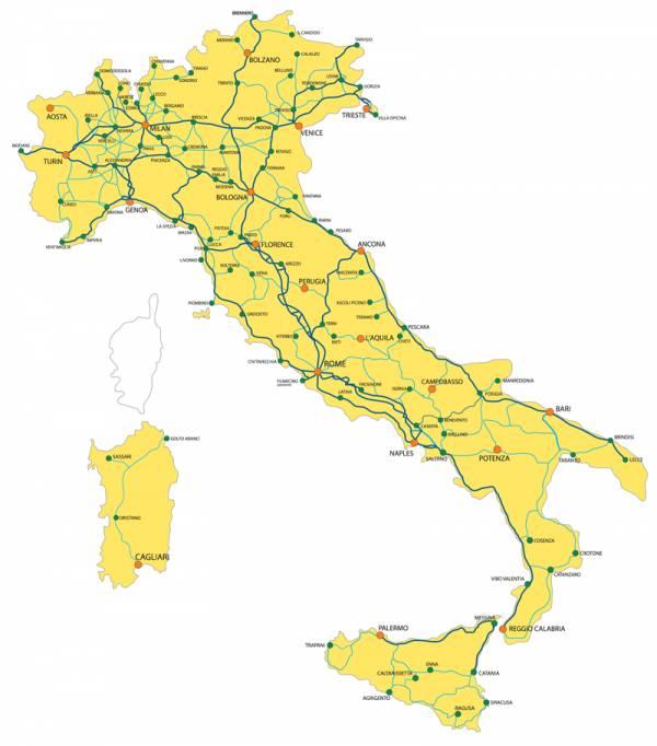 Viajar En Tren Por Italia - Mapa de italia