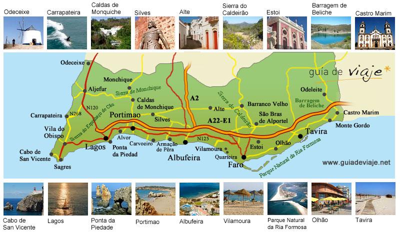 mapa turistico do algarve Guía del Algarve mapa turistico do algarve