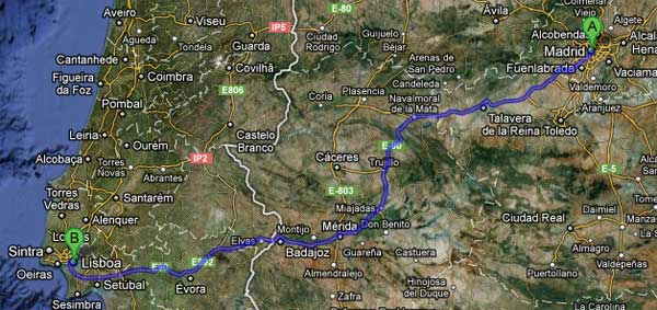 lisboa madrid mapa Los peajes en las autopistas de Portugal lisboa madrid mapa
