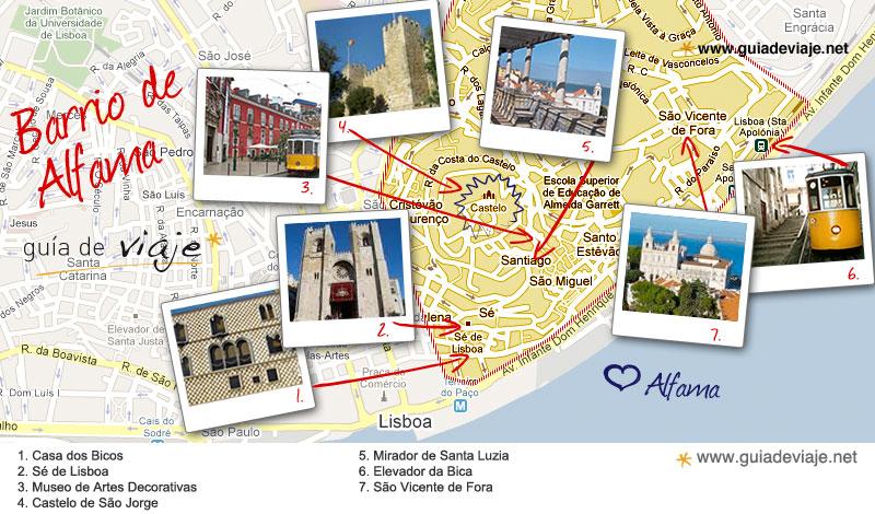 mapa lisboa alfama Barrio de Alfama mapa lisboa alfama