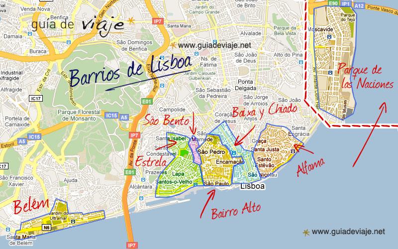 estrela lisboa mapa Barrios de Lisboa estrela lisboa mapa