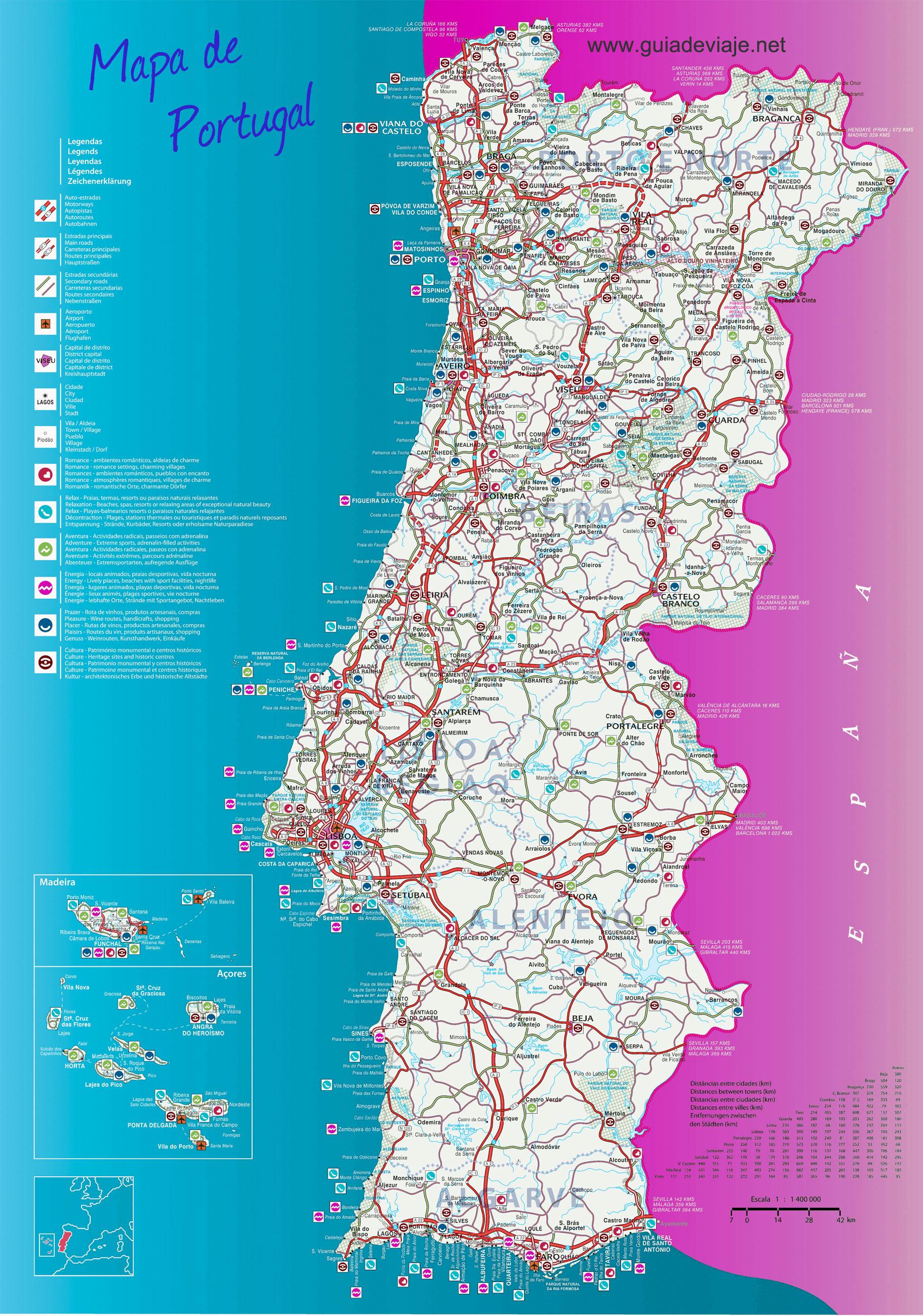Islas De Portugal Mapa.Mapa De Portugal
