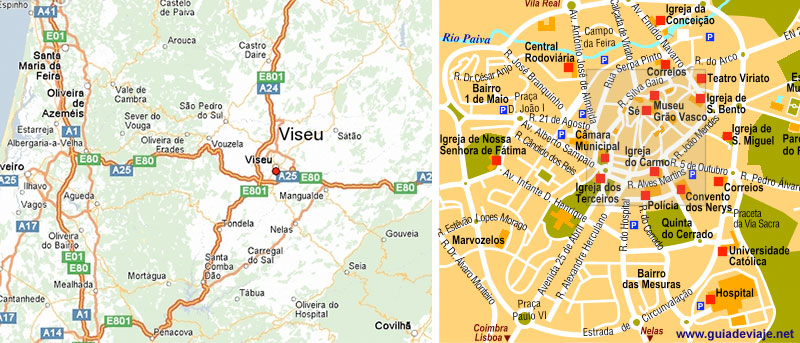 Viseu Portugal  city images : mapa de Viseu, portugal